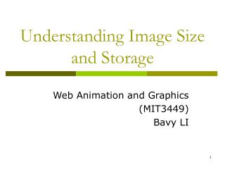 Understanding Image Size  and Storage