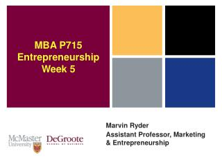 Marvin Ryder Assistant Professor, Marketing & Entrepreneurship
