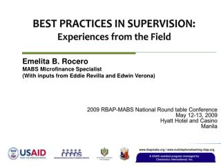 BEST PRACTICES IN SUPERVISION: Experiences from the Field