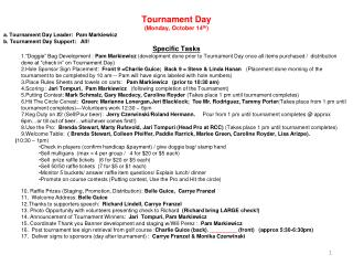 Tournament Day (Monday, October 14 th ) a. Tournament Day Leader:  Pam  Markiewicz