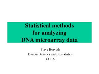 Statistical methods  for analyzing  DNA microarray data