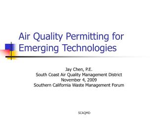 Air Quality Permitting for Emerging Technologies