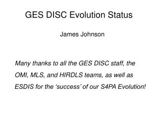 GES DISC Evolution Status