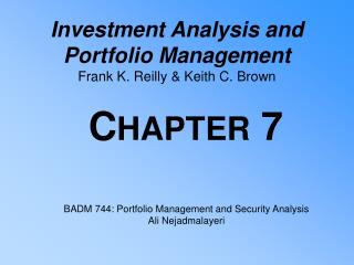 Investment Analysis and  Portfolio Management Frank K. Reilly & Keith C. Brown