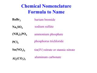 Chemical Nomenclature Formula to Name