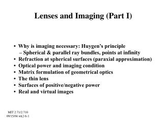 Lenses and Imaging (Part I)