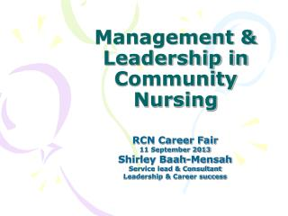 Management & Leadership in Community Nursing