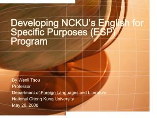 Developing NCKU's English for Specific Purposes (ESP) Program