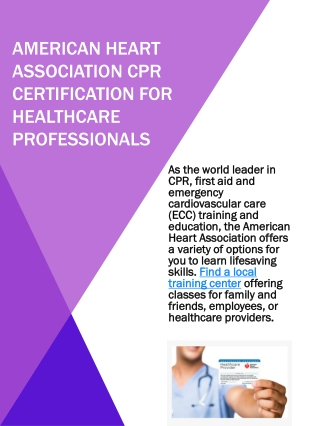 American Heart association CPR Certification for healthcare professionals