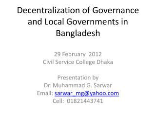 Decentralization of Governance and Local Governments in Bangladesh