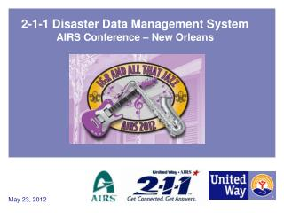 2-1-1 Disaster Data Management System AIRS Conference – New Orleans