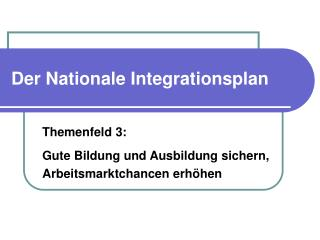 Der Nationale Integrationsplan