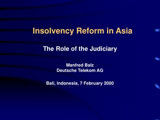 Insolvency Reform in Asia