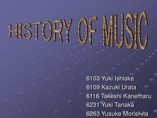 6103 Yuki Ishioka 6109 Kazuki Urata 6116 Takeshi Kanemaru 6231 Yuki Tanaka 6263 Yusuke Moris h ita