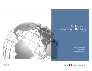 A Career in  Investment Banking
