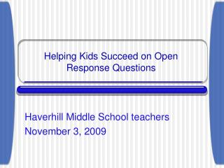 Helping Kids Succeed on Open Response Questions
