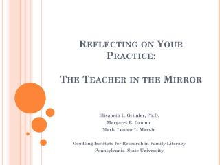 Reflecting on Your Practice: The Teacher in the Mirror