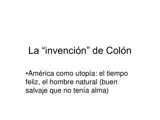 """La """"invención"""" de Colón"""