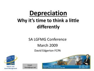 Depreciation Why it's time to think a little differently