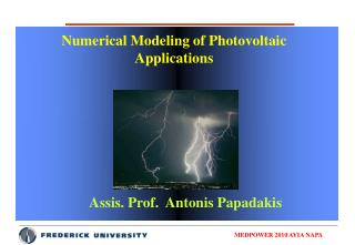 Numerical Modeling of Photovoltaic Applications