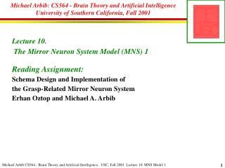 Lecture  10.  The Mirror Neuron System Model (MNS) 1 Reading Assignment:
