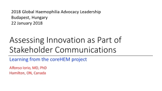 Update on Global Collaboration in Studies of Inhibitors in Hemophilia