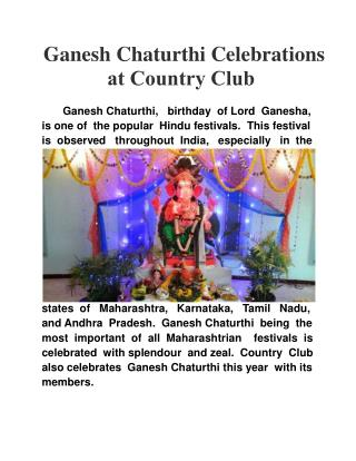 Ganesh Chaturthi Celebrations at Country Club