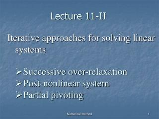 Lecture 11-II