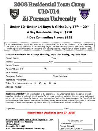 2008 Residential Team Camp U10-U14 At Furman University