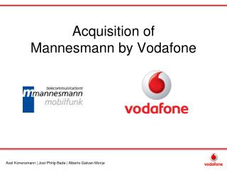 Acquisition of  Mannesmann by Vodafone