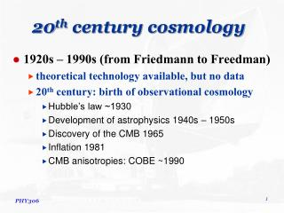 20th century cosmology