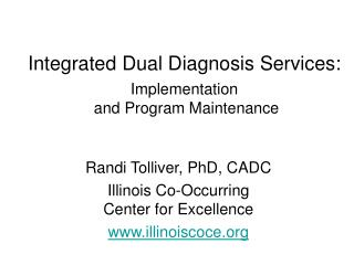 Integrated Dual Diagnosis Services: Implementation  and Program Maintenance