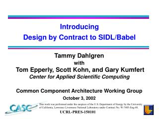 Introducing Design by Contract to SIDL/Babel