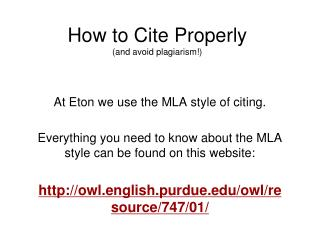 How to Cite Properly (and avoid plagiarism!)
