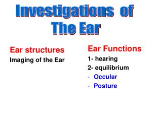 Investigations  of  The Ear