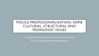 Police Professionalisation : Some Cultural, Structural and Pedagogic Issues