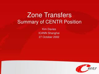 Zone Transfers Summary of CENTR Position