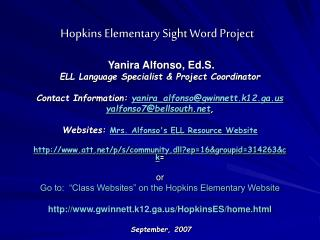 Hopkins Elementary Sight Word Project