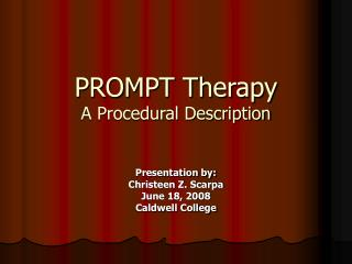 PROMPT Therapy A Procedural Description