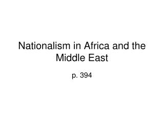 Nationalism in Africa and the Middle East