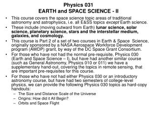 Physics 031 EARTH and SPACE SCIENCE - II