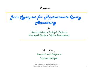 A  paper on Join Synopses for Approximate Query Answering