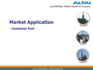 Market Application - Container Port