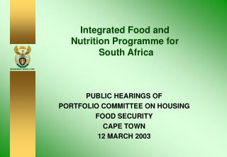 Integrated Food and Nutrition Programme for  South Africa