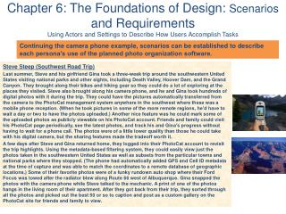 Chapter 6: The Foundations of Design:  Scenarios  and Requirements