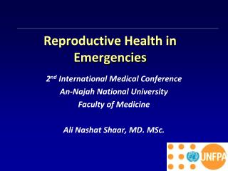Reproductive Health in Emergencies