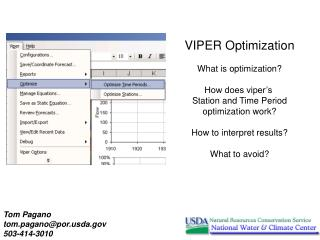 VIPER Optimization What is optimization? How does viper's  Station and Time Period