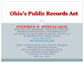 Ohio s Public Records Act