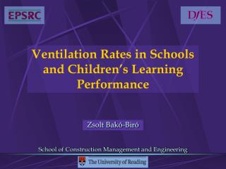 Ventilation Rates in Schools and Children's Learning Performance