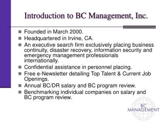 Introduction to BC Management, Inc.